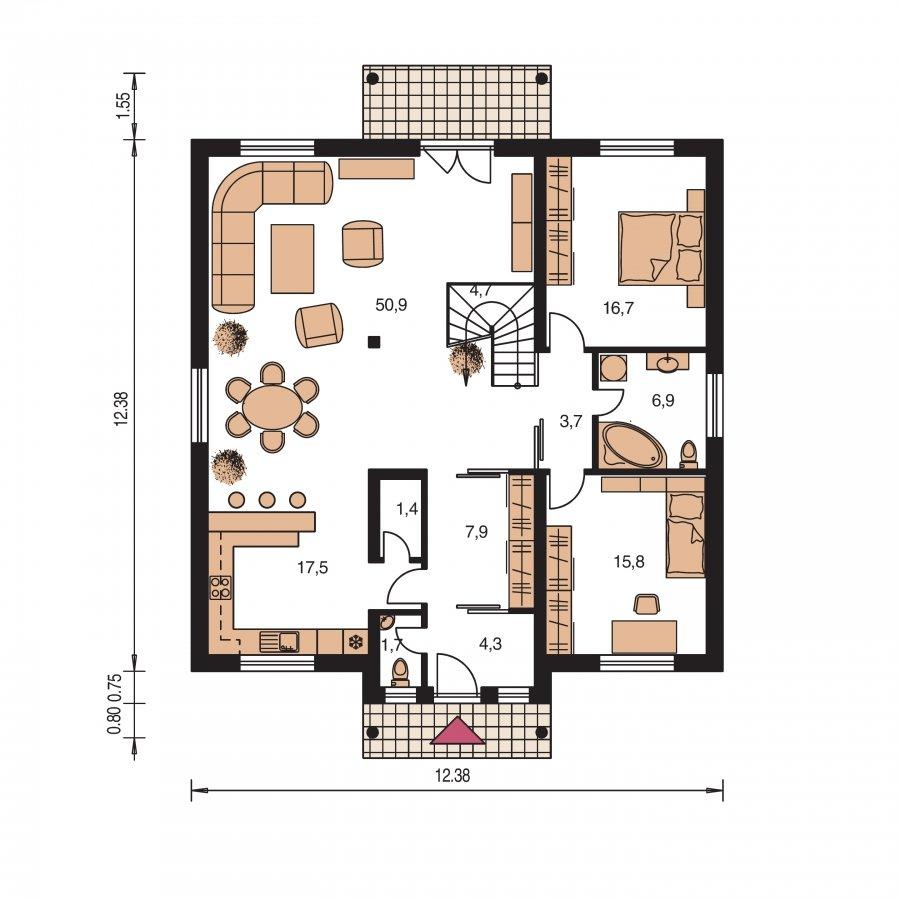 Pôdorys Prízemia - Zaujímavý murovaný dom s obytným podkrovím