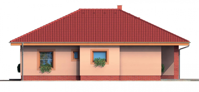 Pohľad 4. - Bungalow s terasou, veľkopriestorovou obytnou časťou a veľkým rohovým oknom.