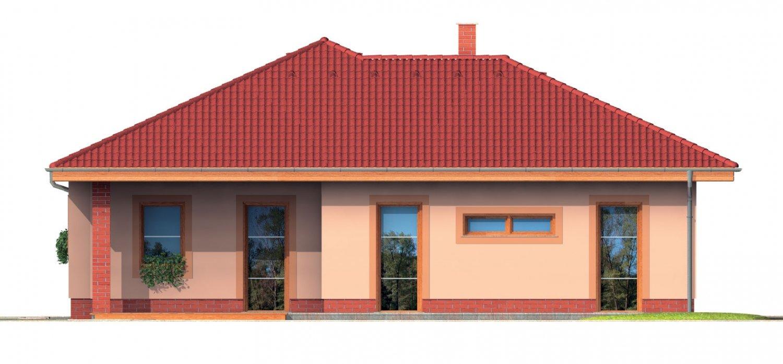 Pohľad 2. - Bungalow s terasou, veľkopriestorovou obytnou časťou a veľkým rohovým oknom.