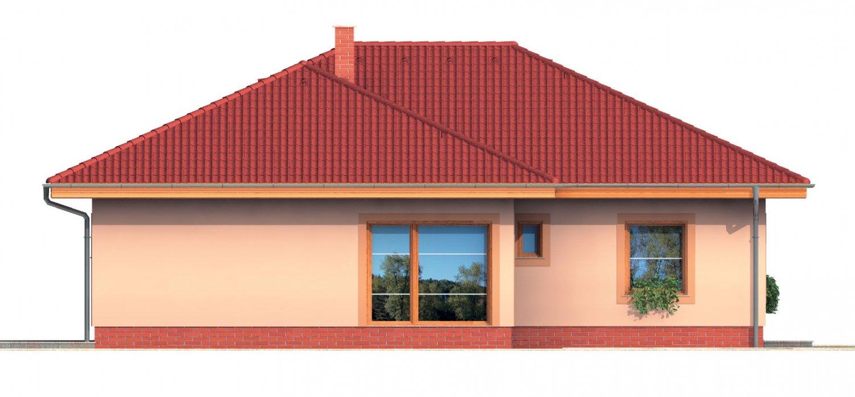 Pohľad 3. - Bungalow s terasou, veľkopriestorovou obytnou časťou a veľkým rohovým oknom.