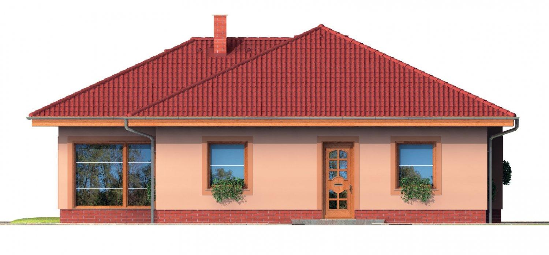 Pohľad 1. - Bungalow s terasou, veľkopriestorovou obytnou časťou a veľkým rohovým oknom.