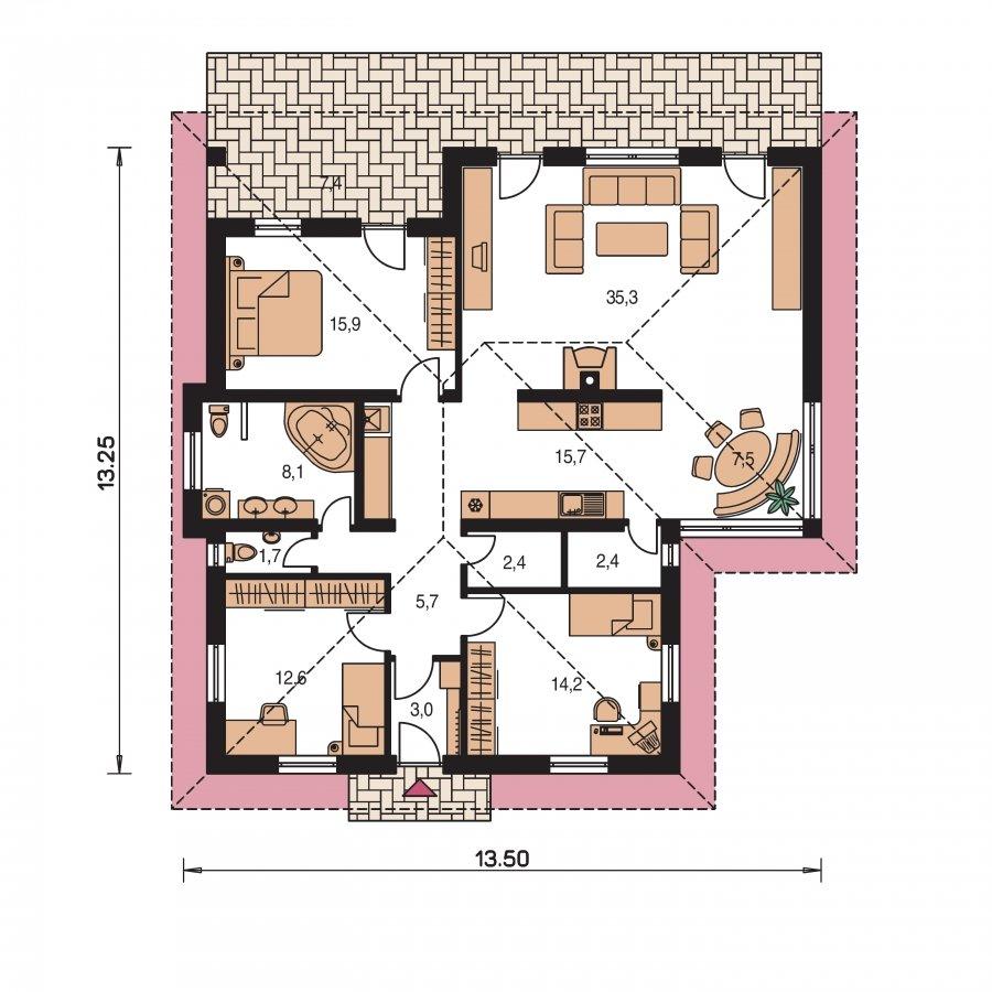Pôdorys Prízemia - Murovaný bungalow s terasou, veľkopriestorovou obytnou časťou a veľkým rohovým oknom