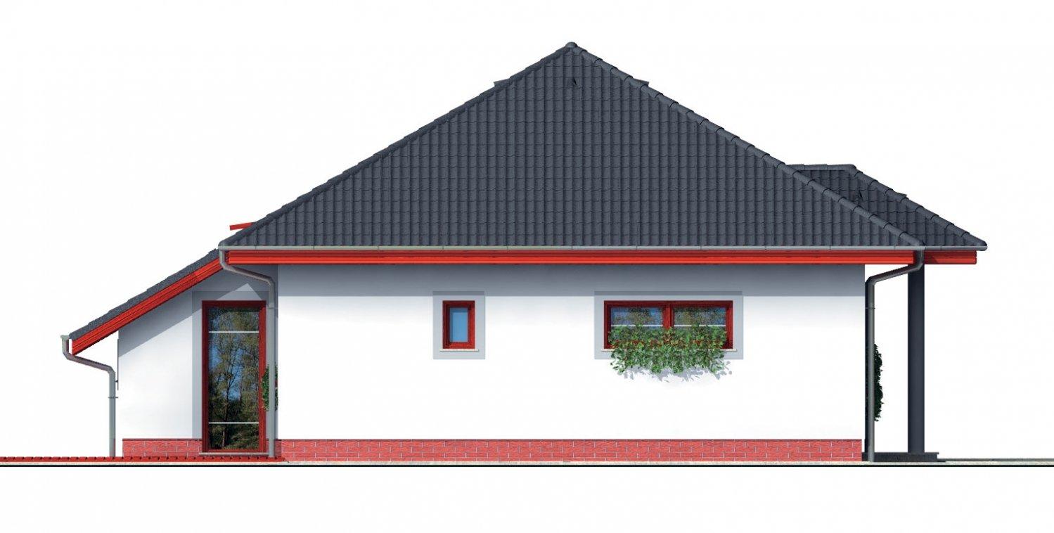 Pohľad 2. - Projekt rodinného domu s podkrovím a veľkopriestorovou obytnou časťou so strešnými oknami.
