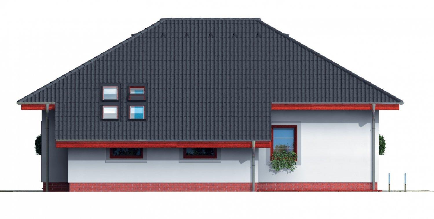 Pohľad 3. - Projekt rodinného domu s podkrovím a veľkopriestorovou obytnou časťou so strešnými oknami.