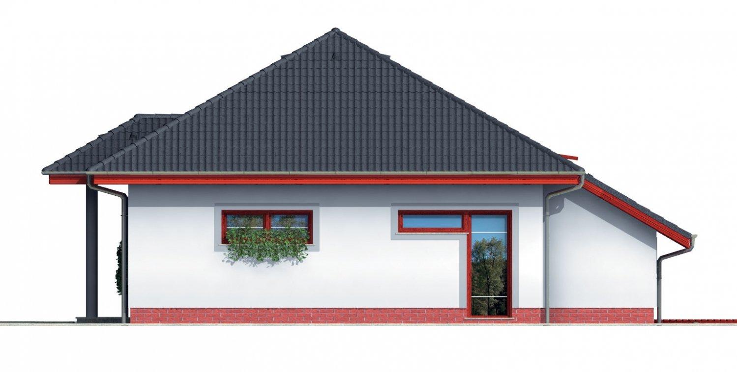 Pohľad 4. - Projekt rodinného domu s podkrovím a veľkopriestorovou obytnou časťou so strešnými oknami.