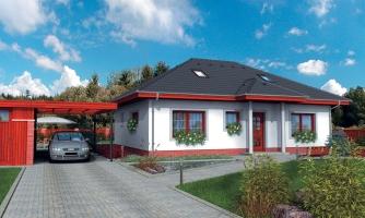 Projekt rodinného domu s podkrovím a veľkopriestorovou obytnou časťou so strešnými oknami