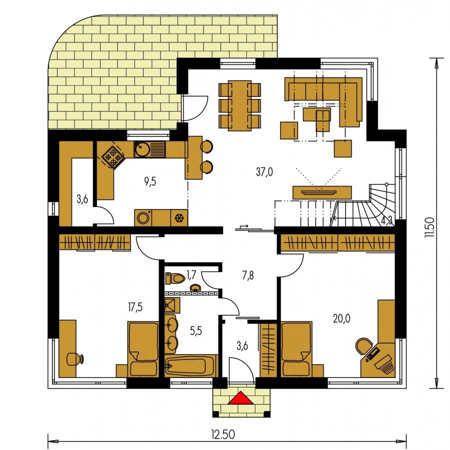 Pôdorys Prízemia - Projekt rodinného domu s podkrovím a veľkopriestorovou obytnou časťou so strešnými oknami.