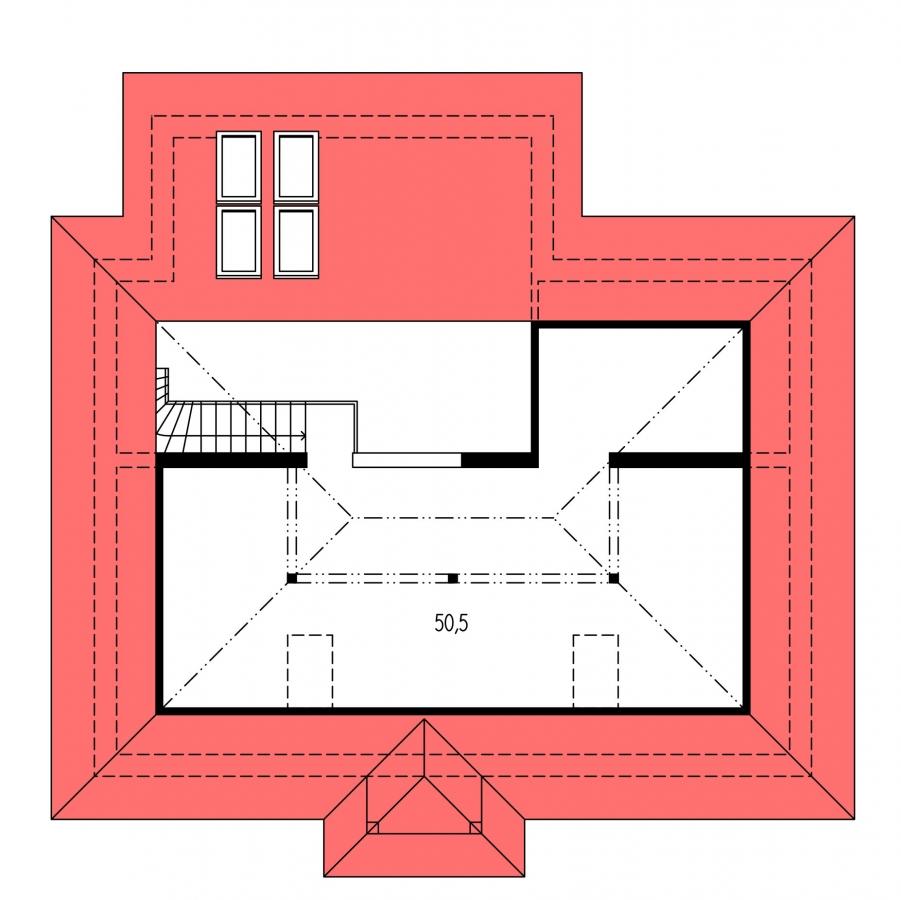 Pôdorys Poschodia - Projekt rodinného domu s podkrovím a veľkopriestorovou obytnou časťou so strešnými oknami.