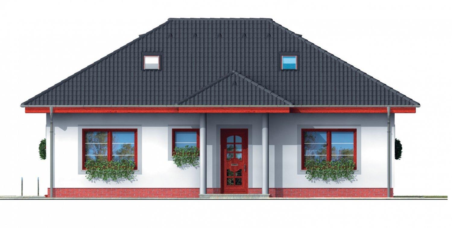 Pohľad 1. - Projekt rodinného domu s podkrovím a veľkopriestorovou obytnou časťou so strešnými oknami.