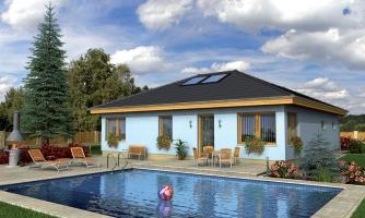 Projekt prízemného rodinného domu s garážou, valbovou strechou a terasou.
