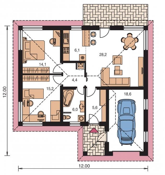 Pôdorys Prízemia - Projekt bungalovu s garážou a terasou