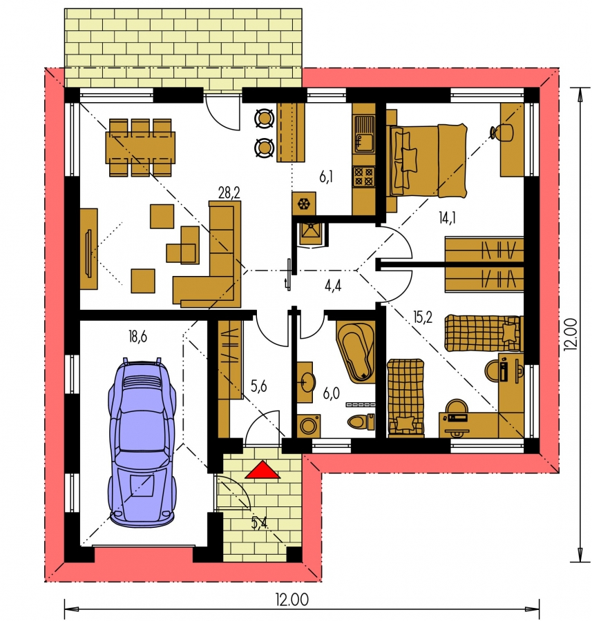 Pôdorys Prízemia - Projekt prízemného rodinného domu s garážou, valbovou strechou a terasou.