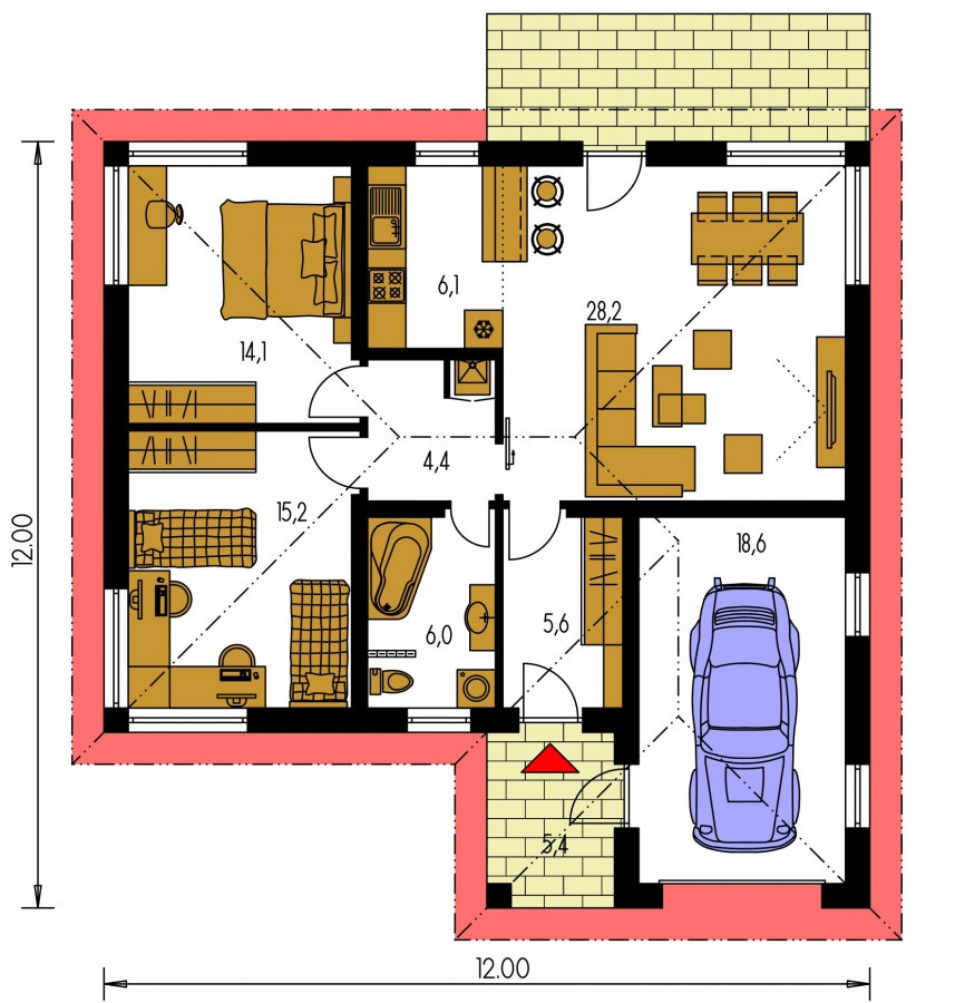 Pôdorys Prízemia - Projekt prízemného rodinného domu s garážou, valbovou strechou a terasou