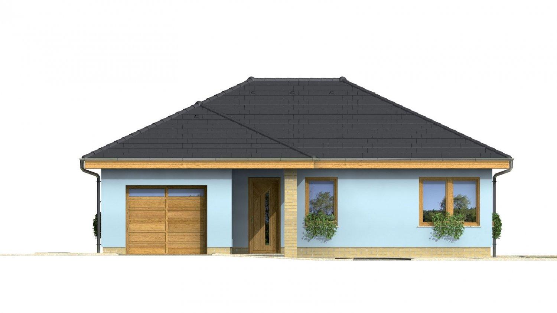 Pohľad 1. - Projekt prízemného rodinného domu s garážou, valbovou strechou a terasou.
