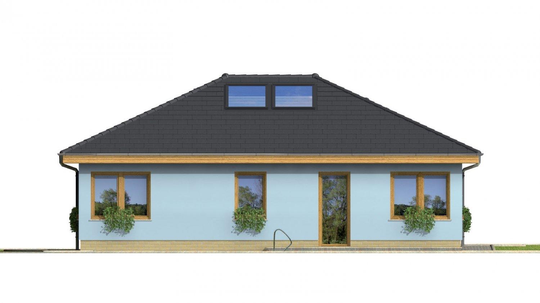 Pohľad 2. - Projekt prízemného rodinného domu s garážou, valbovou strechou a terasou.
