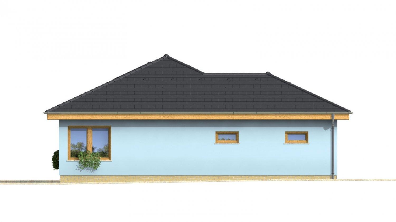 Pohľad 3. - Projekt prízemného rodinného domu s garážou, valbovou strechou a terasou.