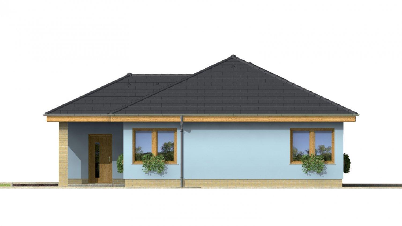 Pohľad 4. - Projekt prízemného rodinného domu s garážou, valbovou strechou a terasou.