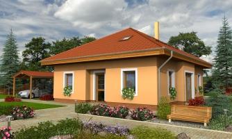 Projekt domu s obytným podkrovím a spálňou na prízemí.