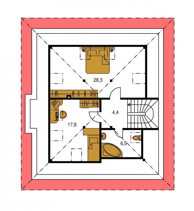 Pôdorys Poschodia - Projekt domu s obytným podkrovím a spálňou na prízemí.