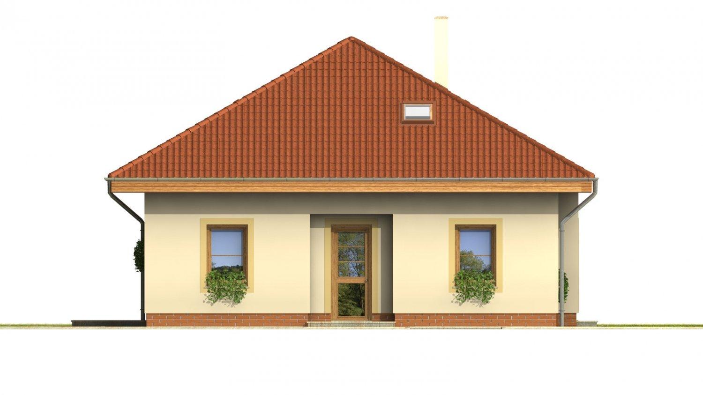 Pohľad 1. - Projekt domu s obytným podkrovím a spálňou na prízemí.