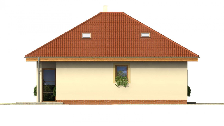 Pohľad 2. - Projekt domu s obytným podkrovím a spálňou na prízemí.