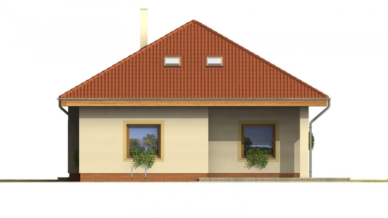Pohľad 3. - Projekt domu s obytným podkrovím a spálňou na prízemí.