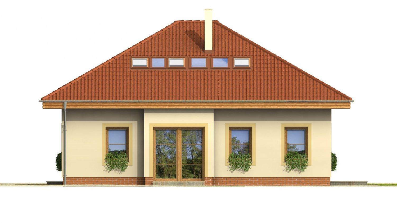 Pohľad 4. - Projekt domu s obytným podkrovím a spálňou na prízemí.