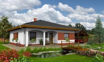 Projekt rodinného domu so stanovou strechou.