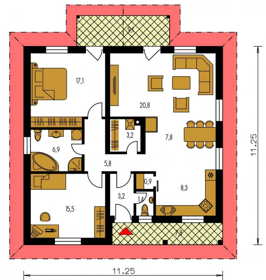 Pôdorys Prízemia - Projekt rodinného domu so stanovou strechou