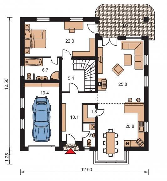 Pôdorys Prízemia - Pekný dom s garážou, terasou a podkrovím