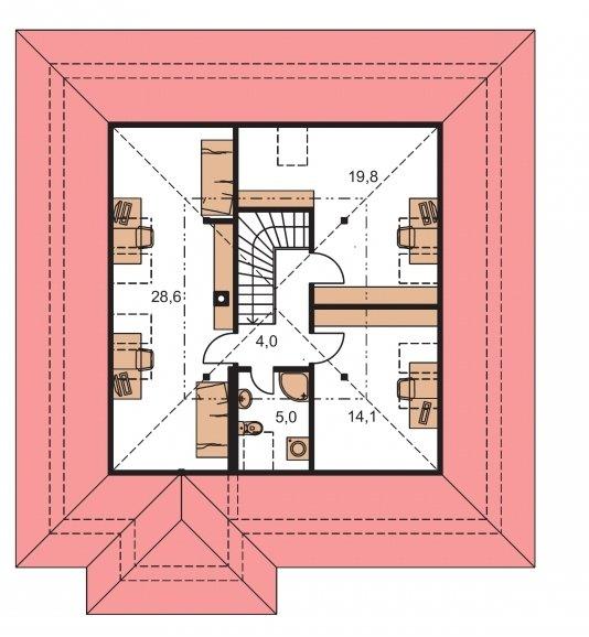 Pôdorys Poschodia - Pekný dom s garážou, terasou a podkrovím