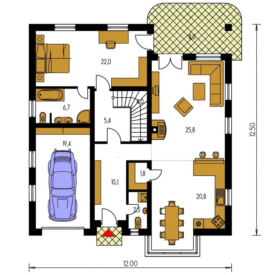 Pôdorys Prízemia - Pekný dom s garážou, terasou, podkrovím a izbou na prízemí