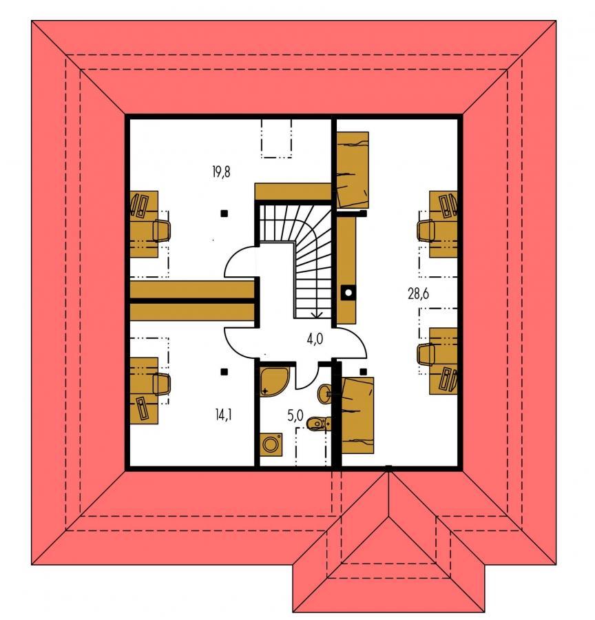 Pôdorys Poschodia - Pekný dom s garážou, terasou, podkrovím a izbou na prízemí