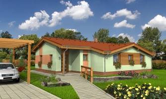 Projekt domu so sedlovou strechou.