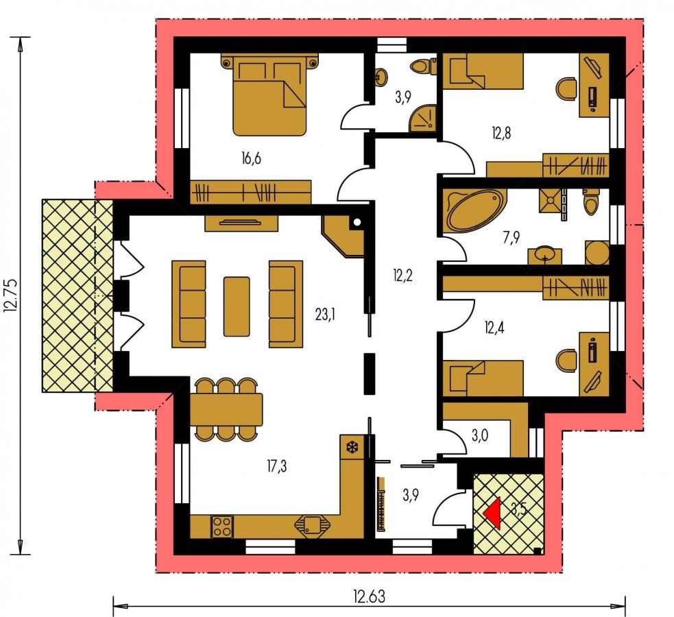 Pôdorys Prízemia - Zaujímavý projekt patrí k prízemným domom so sedlovými strechami