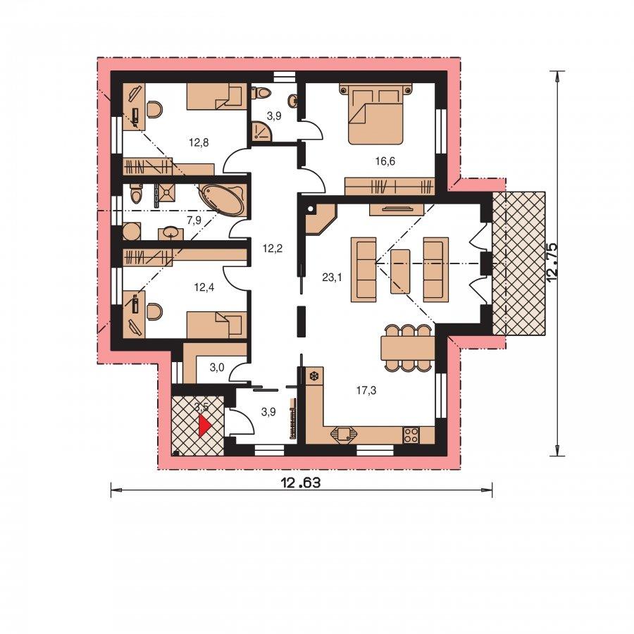 Pôdorys Prízemia - Zaujímavý domček so sedlovými strechami
