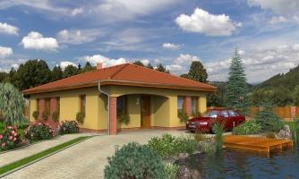 Projekt domu na úzky pozemok s valbovou strechou a terasou.