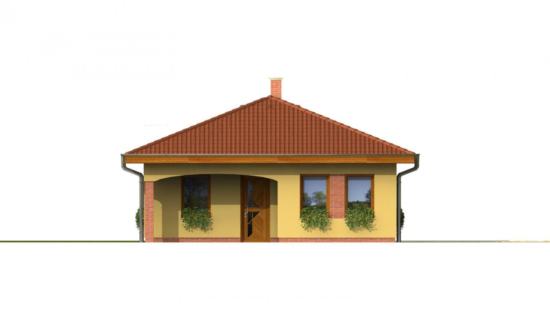 Pohľad 1. - Projekt domu na úzky pozemok s valbovou strechou a terasou.
