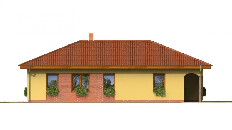 Pohľad 2. - Projekt domu na úzky pozemok s valbovou strechou a terasou.