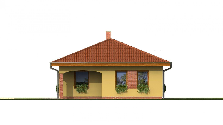 Pohľad 3. - Projekt domu na úzky pozemok s valbovou strechou a terasou.