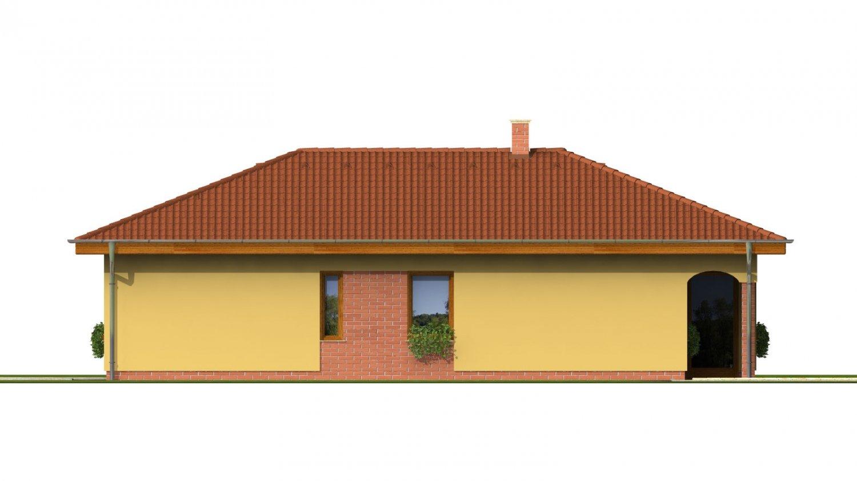 Pohľad 4. - Projekt domu na úzky pozemok s valbovou strechou a terasou.