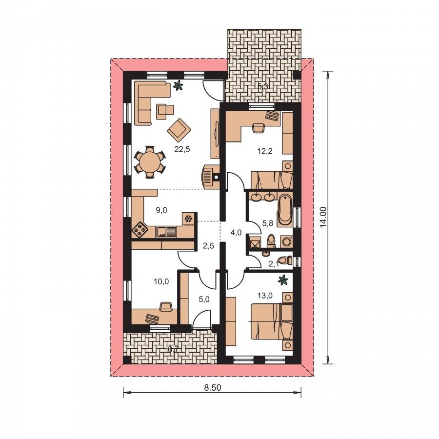 Pôdorys Prízemia - Dom na úzky pozemok s terasou
