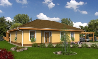 Obľúbený projekt domu do L s terasou a valbovou strechou.