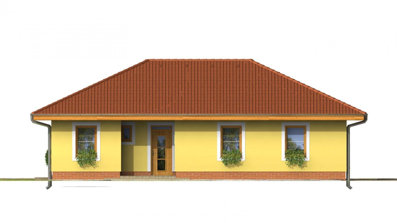 Pohľad 1. - Obľúbený projekt domu do L s terasou a valbovou strechou.