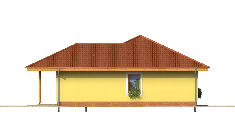Pohľad 4. - Obľúbený projekt domu do L s terasou a valbovou strechou.