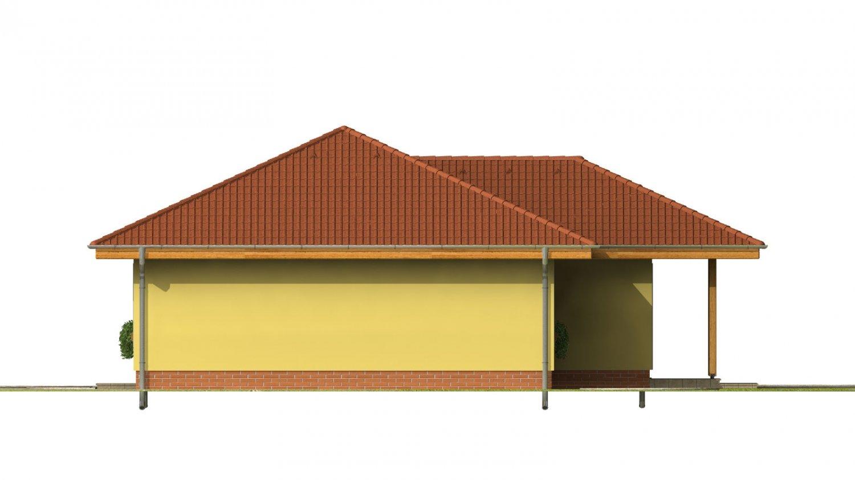 Pohľad 2. - Obľúbený projekt domu do L s terasou a valbovou strechou.