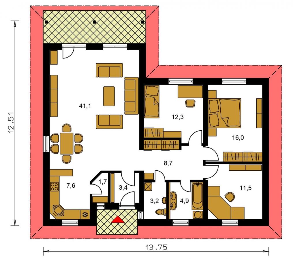 Pôdorys Prízemia - Obľúbený projekt domu do L s terasou a valbovou strechou.