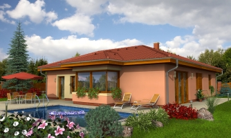 Dom v tvare L s garážou a vystúpeným kuchynským sedením