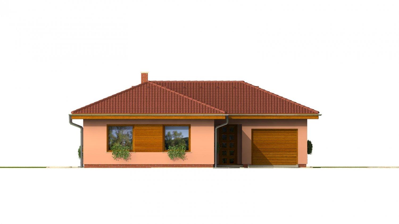 Pohľad 1. - Dom v tvare L s garážou.