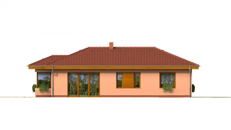 Pohľad 2. - Dom v tvare L s garážou.